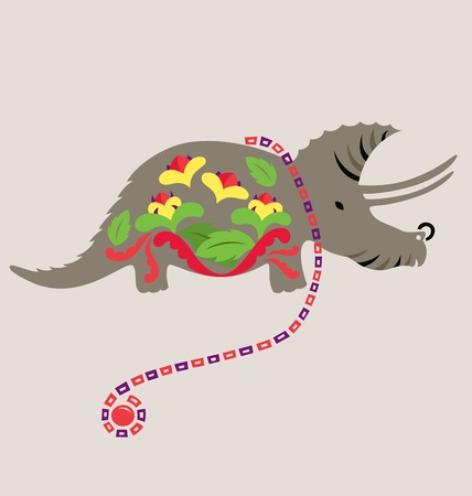 tangling: A decorative Rhinosaurus decorated with flowers, leafs and a decorative neclace is tangling around its neck.