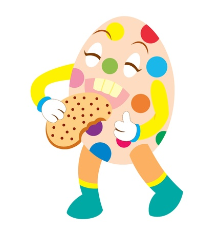 playfull: An Easter character eating a chocolate cookie happily, shows with his tumb up.
