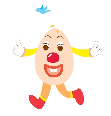 playfull: An Easter character depicting a clown walking happily while a birds drop drop on his head. Illustration