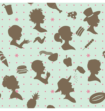a seamless pattern of people head silhouette with food silhouette around.  Vector