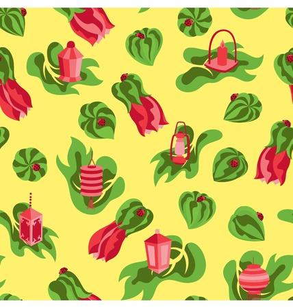 lady bug: Eine nahtlose Muster der Bl�te rote Bl�te mit verschiedenen Laterne Art und Marienk�fer. Illustration