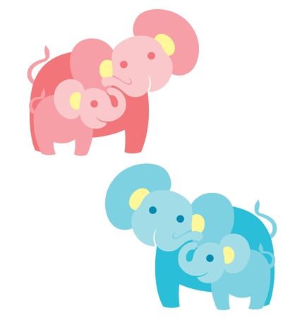 A mother elephant with baby elephant looking at each other, illustrated in blue for baby boy and pink for baby girl.