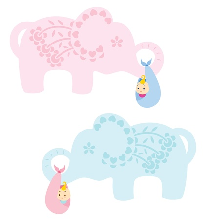 An elephant decorated with flower and leaves carrying a new born baby, illustrated in blue for baby boy and pink for baby girl. Vector