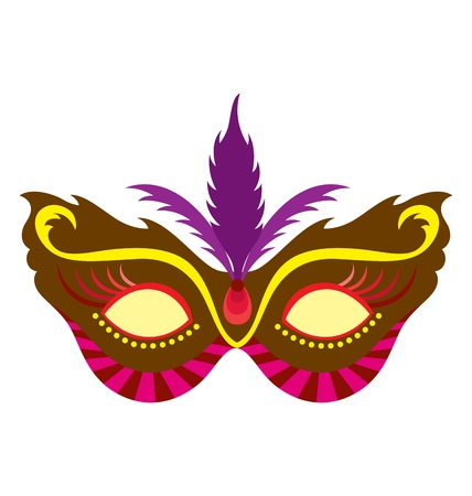 costume jewellery: A mardi gras mask, illustrated with striking colors and shapes.