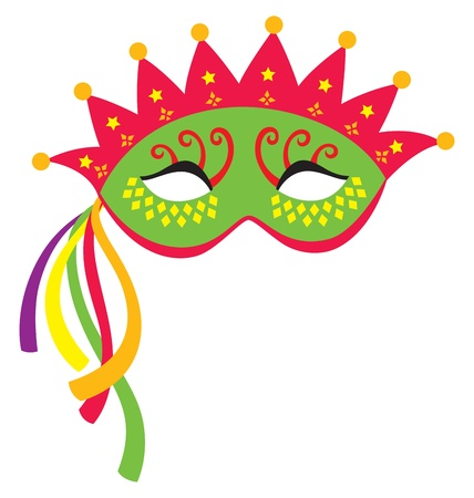 party mask: A mardi gras mask, illustrated with striking colors and shapes.