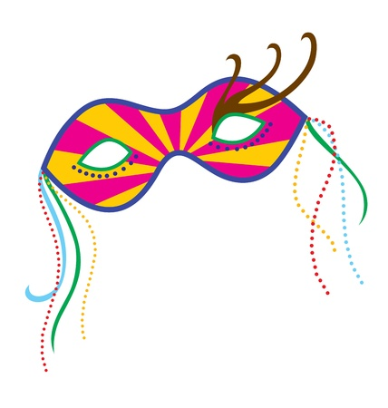 A mardi gras mask, illustrated with striking colors and shapes.