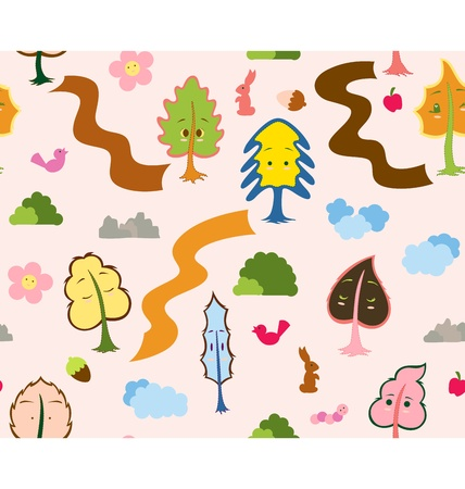 A seamless pattern design illustrated with a group of tree leaves characters, each with their own expression and they are surrounded with animal and nature that normally seen in the forest. Vector