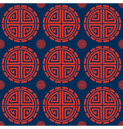 traditional pattern: A seamless pattern design of geometric shapes depicting circled Chinese lucky symbol, great for background design.