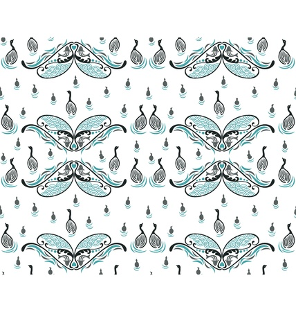 A seamless pattern design illustrated with a group of swans family swimming around, decorated with fish and water wave, great for background design. Vector