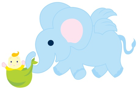 A flying baby elephant carrying a little baby. Illustration
