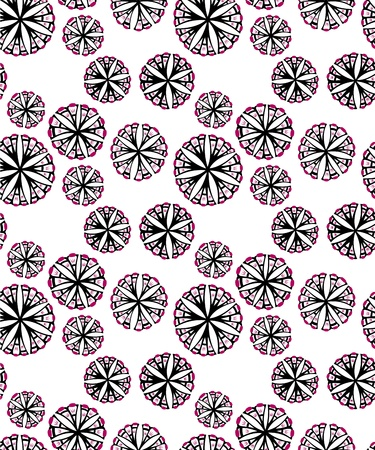 spores: A seamless pattern design of flowers spores spread around, illustrated with contemporary style.