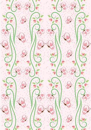 A seamless pattern design of flowers, butterfly and leaves, illustrated with contemporary style. Stock Vector - 13344680