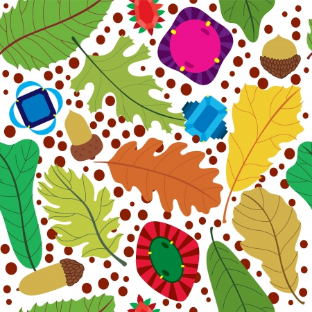 came: A seamless pattern of natural leaves found when autumn came with beautiful diamonds. Illustration