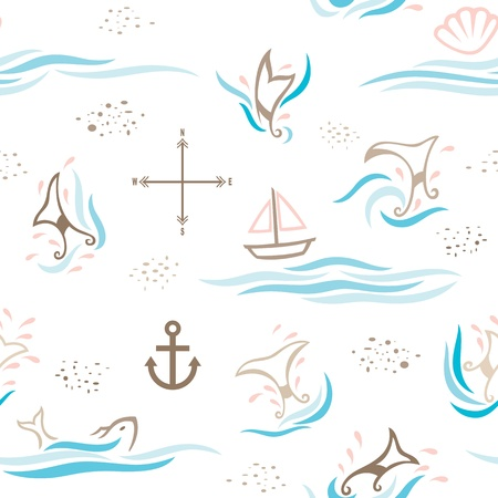 A seamless pattern of decorative whale tails, combining with other objects found mostly in the sea. Vector