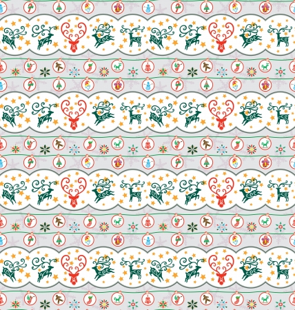 Seamless pattern for Christmas season, reindeers flying and Christmas ornaments hanging around  Illustration