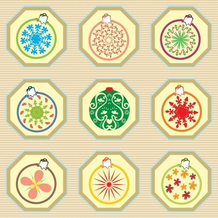 A seamless pattern of Christmas ornaments design with vintage style. Vector
