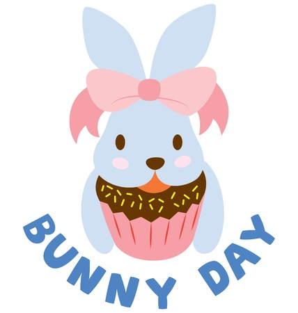 A cute bunny holding on a chocolate cupcake, wearing a big pink ribbon  Vector