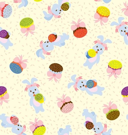 A seamless pattern of rabbits holding colourfull cupcakes and cupcakes with ribbon around  Vector