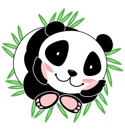 feuille de bambou: Un b�b� panda mignon sourire avec beaucoup de feuilles de bambou � l'arri�re-plan