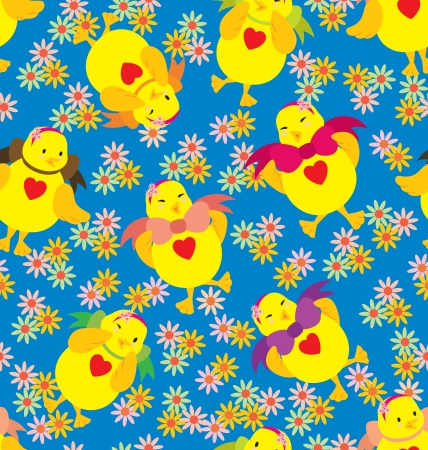 A seamless pattern of chicks in action, wearing big ribbon and big love shape on the chest Stock Vector - 14462777