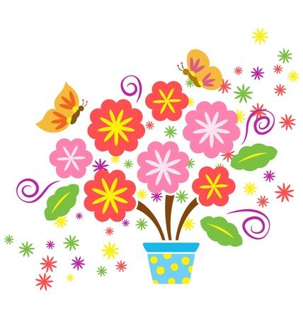 Una maceta decorativa con muchas flores y mariposas volando alrededor Foto de archivo - 14462773