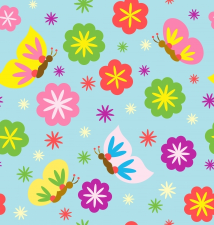 A seamless pattern of decorative flowers and butterfly flying around   Stock Vector - 14462770