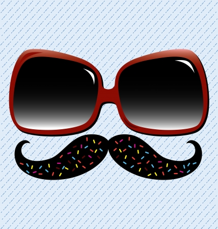 Vintage sunglasses with black mustache and dotted line background. Illustration