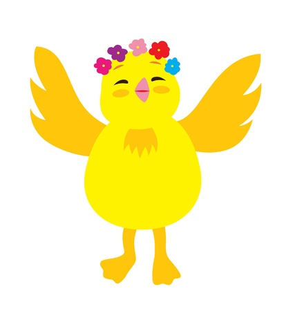 A little yellow chick holding up the hand happily and welcoming, with flowers decoration on the head. Stock Vector - 17541664