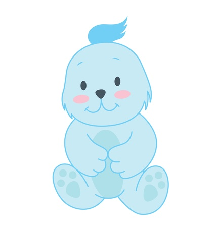 A little blue bear character sitting with a cute pose. Stock Vector - 17541665