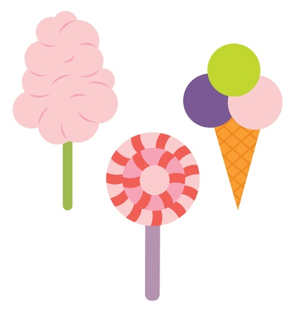 Three type of sweets, cotton candy, ice cream and lollypop