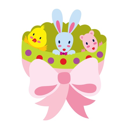 Three little animal celebrating Easter, sitting inside a big egg that is tied with a pink ribbon. Stock Vector - 17932643