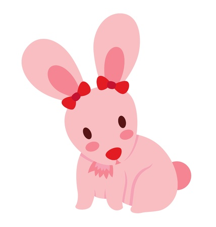 A cute little pink rabbit with two red ribbon on the ears.