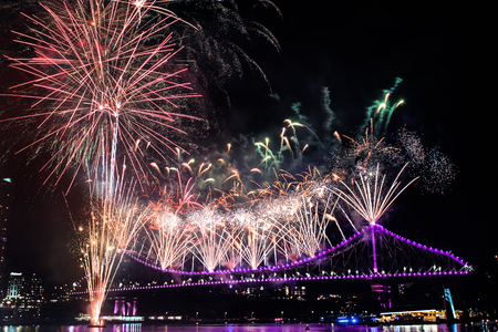Beautiful fireworks during RiverFire Festival