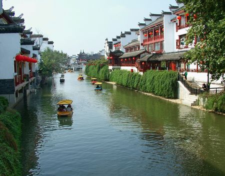 The Qinhuai River in Nanjing, China, the two sides has beautiful scenery and is a good place for sightseeing.