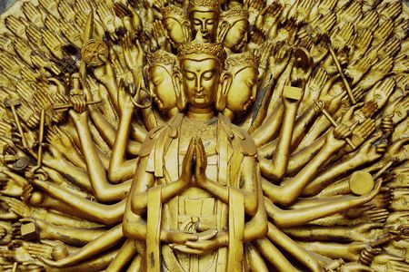 Avalokitesvara sculpture. Stock Photo