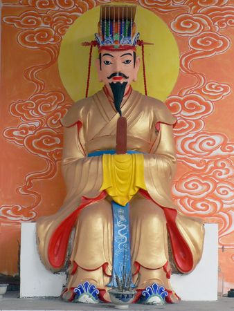 xuyong: Ancient temple sculpture and painting of the statue. Stock Photo