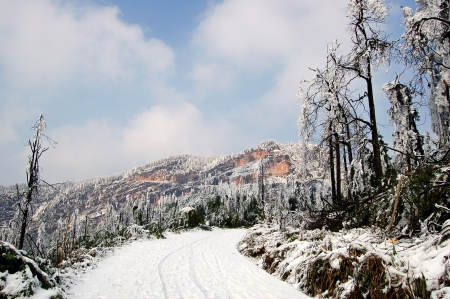 provincial tourist area:  Early spring snow Stock Photo