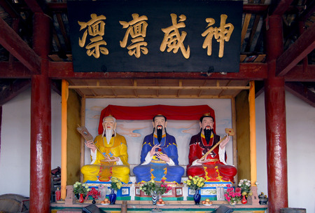 jade buddha temple: Sichuan Taoist temple sculpture Stock Photo