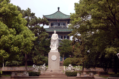 hubei province: Sculpture at Wuhan east lake
