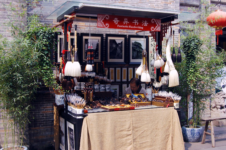 folk customs: Calligraphy stall in an ancient town in Chengdu Editorial