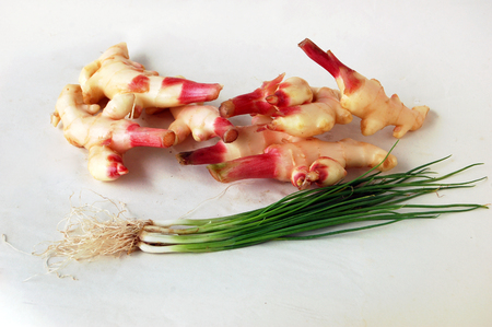 onions: Spring Onions and ginger Stock Photo