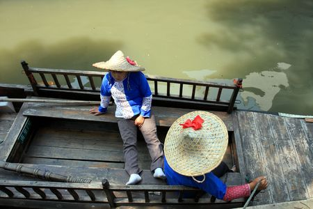 resting: woman resting on the boat