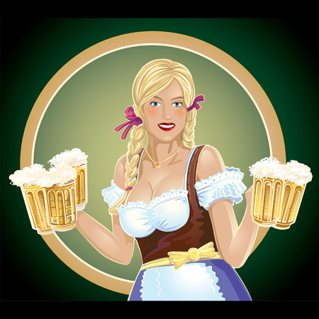 Girl waitress with, a beer in hand