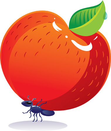 large group of objects: Strong ant bears an apple. Illustration in the children style.