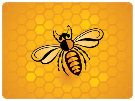 蜂、蜂の巣の背景の模式図。  イラスト・ベクター素材