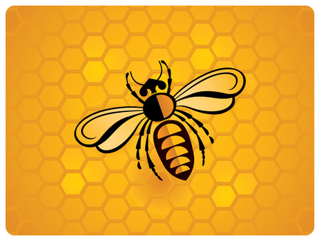 Bee, schematic illustration on the background of a honeycomb. Illustration