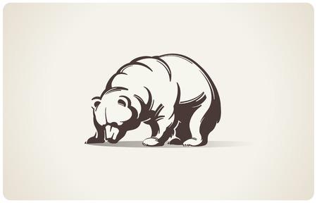 クマの模式図。  イラスト・ベクター素材