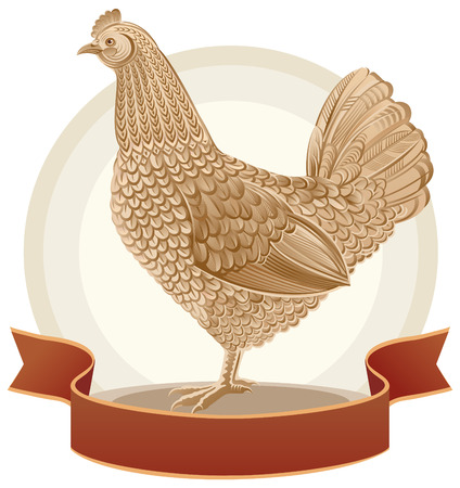 vector eggs: Chicken in graphical style with tape.