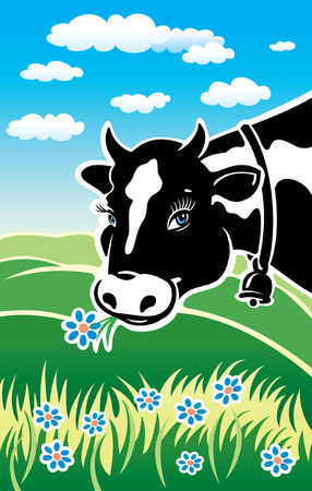 Happy cow on a meadow. Illustration