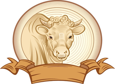 bezel: Graphical bull. Vector object to label or trademarks. Illustration